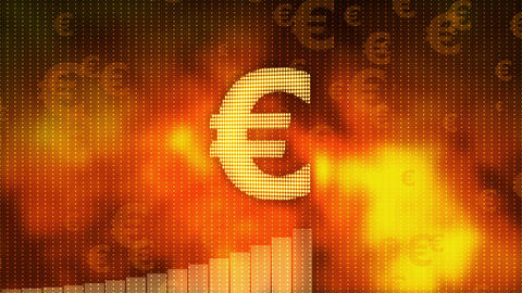 Euro rising on red background, currency gains value, financial crisis averted Footage