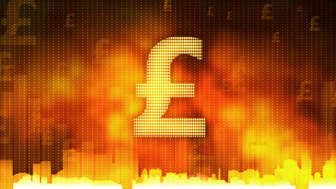Pound sign pulsing on fiery background, money rules the world, greed, obsession Footage