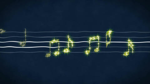 Shiny gold music notes moving on sheet, karaoke song, concert show on LED screen Footage