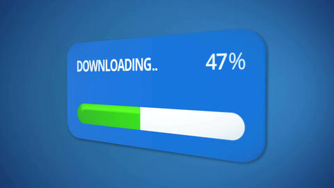 Downloading dialog box with green progress bar, rising percentage, process done Footage
