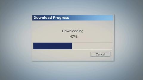 Retro downloading dialog box with blue status bar, percentage showing progress Footage