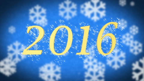 2016 on blue snowy background, New Year celebration, farewell to the old year Footage