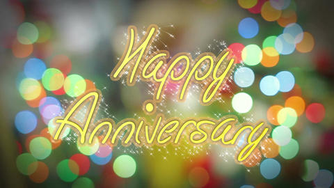 Shiny colorful Happy Anniversary congratulation message, celebration background Footage