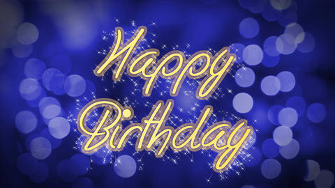 Happy Birthday shiny message on blue background, creative greeting, celebration Footage