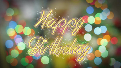 Shiny Happy Birthday message on colorful background, creative greeting, present Footage