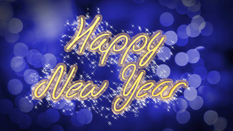 Happy New Year congratulation message on blue background, creative greeting Footage