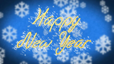 Happy New Year greeting on blue snowy background, congratulation message Footage