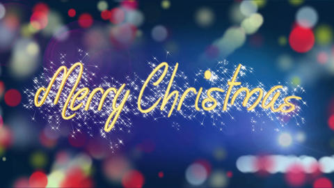 Shiny Merry Christmas message on colorful background, creative greeting, present Live Action