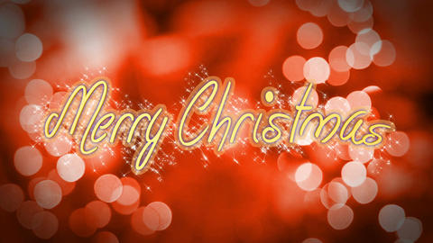Merry Christmas, creative congratulation message on romantic red background Live Action