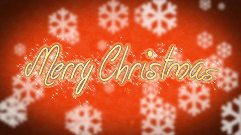 Creative Merry Christmas message on red background, congratulation, greeting Live Action