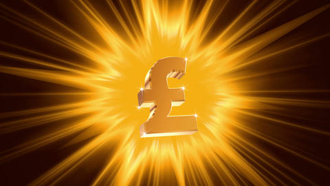 Pound sign on radiant light background, success, large income, jackpot winner Footage