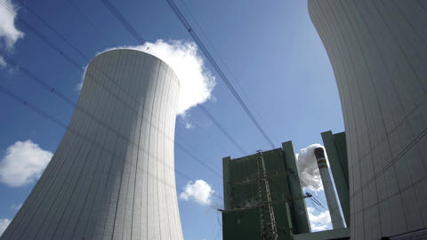 Industrial Installation With Smoking Chimney and Cooling Tower Footage