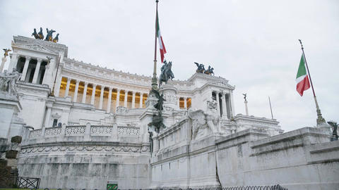 Famous architecture monument to honor king of Italy, sightseeing tour to Italy Footage