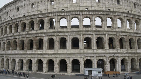 Facade of Colosseum amphitheatre, ancient venue for gladiatorial contests, Italy Footage