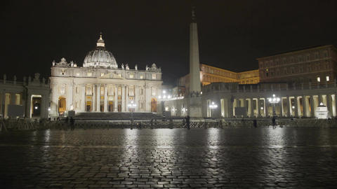 Night timelapse of people visiting Italian landmark, main church in Vatican City Footage