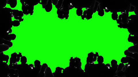 Multiple camera operators, photographers, reporters covering event, green screen Footage
