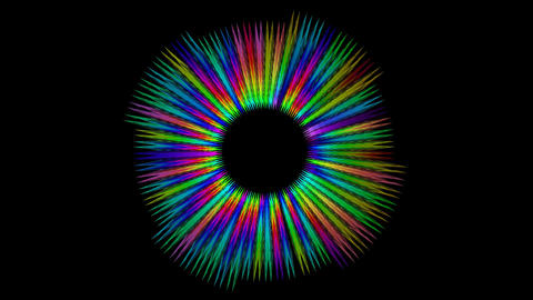 Rotating rainbow gritty rays on black background, zoom and remote motion, psyche Animation
