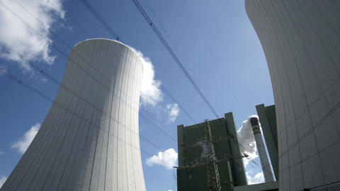 Industrial Installation Cooling Tower With Chimney Timelapse Footage