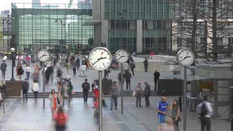 Time lapse. London. Alley with a clock in the business center Footage