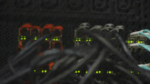 Macro Web Server with Network Cables Lights and Numbers Footage