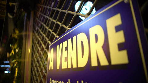 French sign for sale hanging on fence, real estate market, profitable business Footage