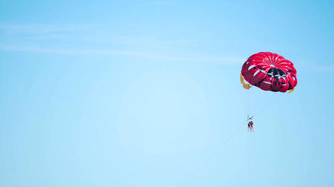 People addicted to extreme sports flying with parachute, parasailing activity Footage
