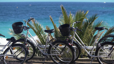 Beach cruiser bicycles at seaside, vehicles for active recreation, rent service Footage