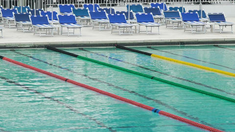 Clean blue water in swimming pool with tracks, sports club, healthy lifestyle Footage