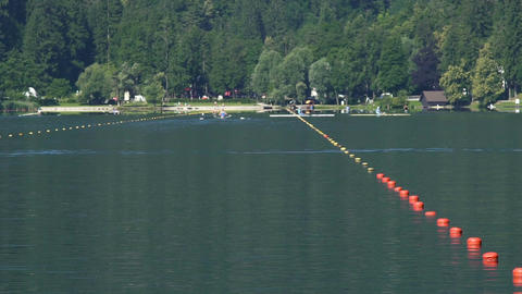 Sports teams training in rowing, people paddling boats, healthy lifestyle Footage