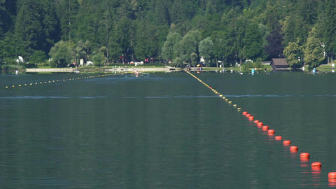 Athletes rowing on a beautiful lake, teams participating in boat-racing Footage