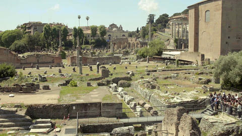 Panorama of archeological site in Italy, group of tourists viewing Roman Forum Footage