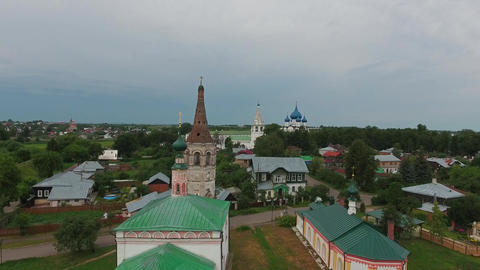 Aerial view on kremlin and churches in Suzdal Footage
