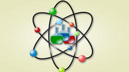 Animation of atom scheme with laboratory flasks Animation