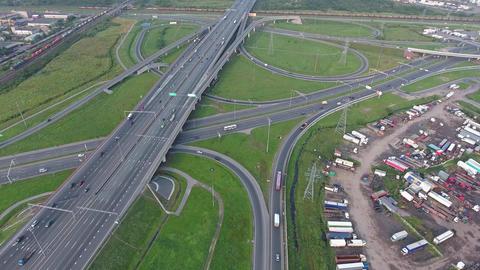 Aerial view on roads junction in Saint Petersburg Footage