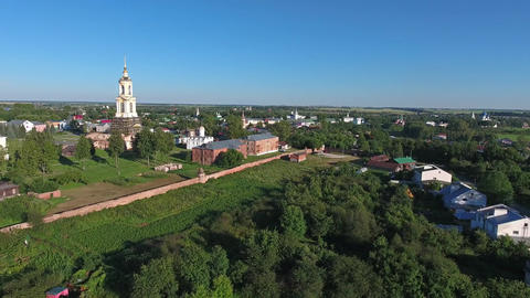 Aerial view on churches in Suzdal Russia Footage