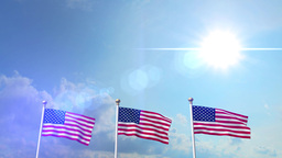 USA US 3 American Flags Waving Against Blue Sky CG Flare 4K Footage
