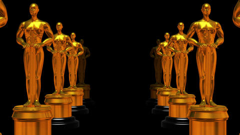 Rows Of Statues Oscar (matte,4K) stock footage