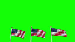 USA US 3 American Flags Waving Green screen CG Flare Footage