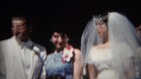 1965: Cute Italian Newlyweds Pose With Bossy Sister stock footage