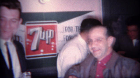 1966: Men Drinking 7up Soda At Dry Social Event stock footage