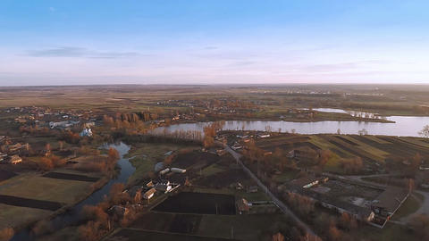 Village With a Bird's-eye view in Autumn Footage