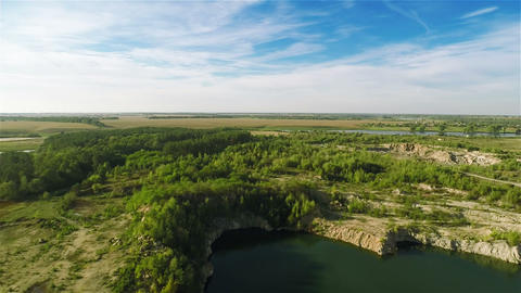 Flying Over Quarry Lake stock footage