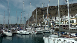 Spain Gran Canary Mogán 046 sailing boat marina and cityscape Footage
