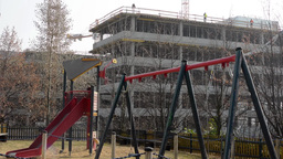 PRAGUE, CZECH REPUBLIC - MARCH 2014: Children's playground and in the background Footage