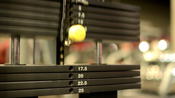 Lift Fitness Weights, In Background Gym stock footage