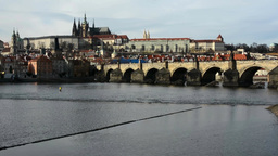 PRAGUE, CZECH REPUBLIC - MARCH 2014: Prague Castle and Charles Bridge with Vltav Footage