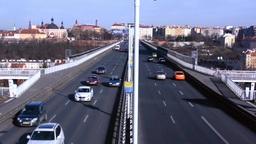 PRAGUE, CZECH REPUBLIC - MARCH 2014: TIMELAPSE - Cars Drive On The Nusle Bridge stock footage