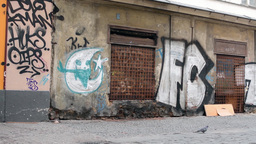 PRAGUE, CZECH REPUBLIC - MARCH 2014: Dirty old streets with graffiti Footage