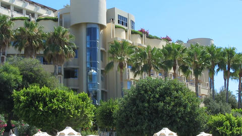 Panoramic elevator in five star hotel overlooking seaside, luxury vacation Footage