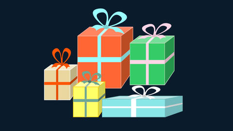 Colorfull gift boxes appearing on black background, happy birthday message, cong Animation